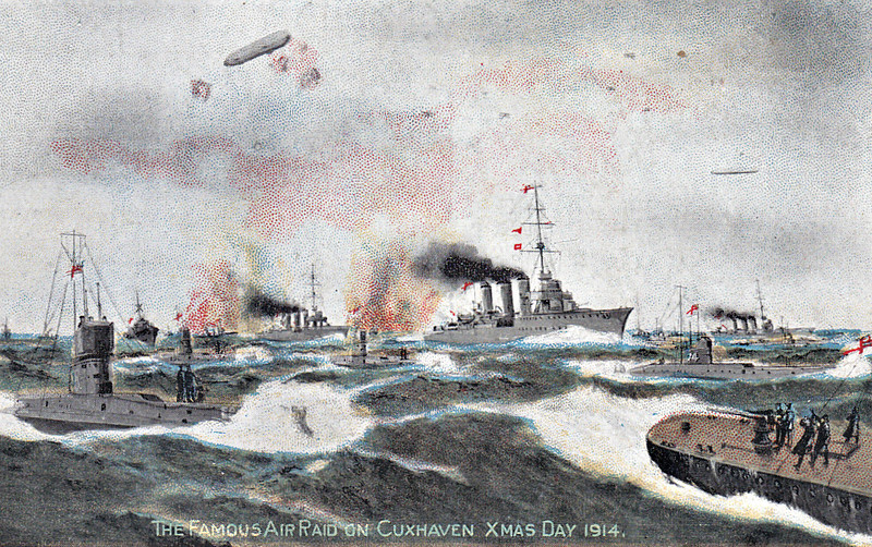 FAMOUS AIR RAID ON CUXHAVEN ON CHRISTMAS DAY, 1914 - 'The story of the raid was thus told in the Admiralty announcement: 'On Friday, the 25th inst., German warships lying in the Schillig Roads off Cuxhaven were attacked by seven Naval seaplanes.....The attack was delivered at daylight, starting from a point in the vicinity of Heligoland. The seaplanes were escorted by as light cruiser and destroyer force, together with submarines. As soon as these ships were seen by the Germans from Heligoland, two Zeppelins, three or four hostile seaplanes and several hostile submarines attacked them. It was necessary for the British ships to remain in the neighbourhood in order to pick up the returning airmen, and a novel combat ensued between the most modern cruisers on the one hand and the enemy's aircraft and submarines on the other. By swift manoeuvring, the enemy's submarines were avoided and the two Zeppelins were easily put to flight by the guns of ARETHUSA (Flagship of Commodore RY Tyrwhitt), UNDAUNTED and AURORA. The enemy's seaplanes succeeded in dropping their bombs near to our ships, though without hitting any. The British ships remained for three hours off the enemy's coast without being molested by any surface vessel and safely re-embarked three out of the seven airmen with their machines. Three other pilots who returned later were picked up by British submarines which were standing by, their machines being sunk.....The British airmen's bombs.....were discharged on points of military significance,' doing great damage to the German base.' The seventh aircraft ditched in the sea about 8nm off Heligoland, the pilot being rescued by a Dutch trawler, taken to Ijmuiden and returned to England. Given that the speed of the squadron was 20 knots, it seems highly unlikely that, even surfaced, the submarines could have kept up!  Little damage was done on either side but it was an important propaganda victory.