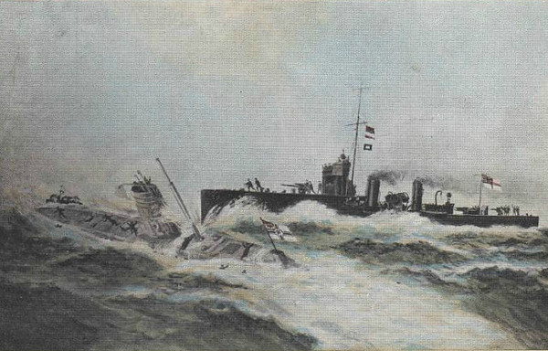 RAMMING AND SINKING OF GERMAN PIRATE SUBMARINE 'U12' BY HM SHIPS 'ARIEL' AND 'ATTACK' - on March 10th, 1915, U12 carried out an abortive torpedo attack cruiser HMS LEVIATHAN of the coast of Fife. Spotted by the trawler MAY ISALND, three destroyers ARIEL, ATTACK and ACHERON were called up to track the U Boat down. The destroyers spotted her on the surface, machine gunned her and she submerged. ARIEL spotted her periscope and rammed her at full speed, forcing her to the surface in a hail of gunfire. Several of the crew made it onto the deck and surrendered but the conning tower hatch jammed and 19 men went down with submarine when she sank. ARIEL was so badly damaged that she had to be towed back to port. Note the obvious inaccuracies in the picture.