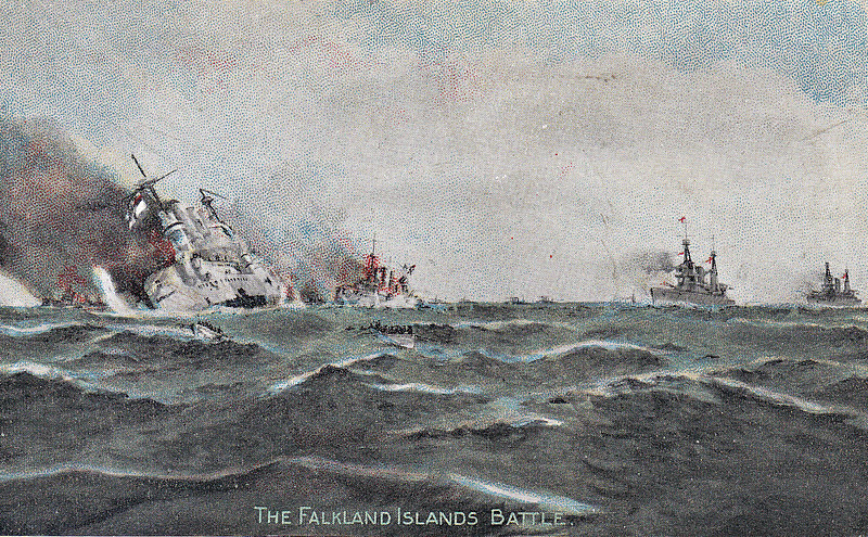FALKLAND ISLANDS BATTLE - 'A British Squadron arrived at Port Stanley, Falkland Islands, on December 7th, 1914. On the morning following a German Squadron hove in sight, with the evident intention of taking the Falklands by surprise. Finding apparently only a British squadron of five cruisers, none of them equal to the German armoured cruisers in fighting value, the Germans promptly closed in and opened fire, the British cruisers replying. The action had become furious and evenly contested when out through the narrow entrance of the harbour came INVINCIBLE (Flagship of Vice Admiral Sir DF Sturdee) and INFLEXIBLE, both with their eight 12-inch guns swung out for action. Admiral Von Spee at once saw the terrible mistake he had made. His squadron were soon in a hopeless condition. SCHARNHORST (Flagship) sank first, followed by GNIESENAU, LEIPZIG and NUERNBURG.' Von Spee was in a hopeless situation. He was not looking for trouble but for supplies: he was trying to get home to Germany, with not a single friendly hand between him and home, and he had been told that Port Stanley, a important British supply base, was only lightly defended. The British battlecruisers, which had arrived at Port Stanley only one day ahead of him, not only completely outgunned and outranged him, they were also faster, so he couldn't even run away. Nevertheless, all of his ships went down fighting with battle ensigns flying, no quarter asked or given, in revenge for the British defeat at Von Spee's hands at Coronel. Only DRESDEN escaped, to be sunk later. British casualties numbered only 10 dead, whilst 1871 German sailors died.