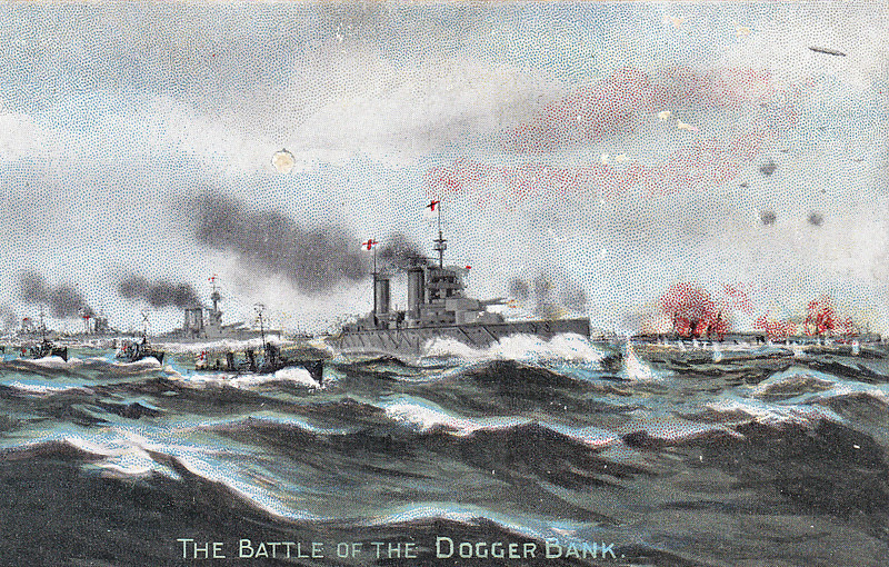 BATTLE OF THE DOGGER BANK - 'On Sunday, January 24th, 1915, a naval engagement tool place between the latest British Dreadnoughts and contemporary German ships, who were surprised on a raiding expedition by Vice Admiral Sir David Beatty's squadron - composed of LION, TIGER, PRINCESS ROYAL, INDOMITABLE, NEW ZEALAND and a light cruiser squadron. The German ships immediately turned tail and made for home, and then began a memorable and terrible fight. The conflict opened at 20 knots. The fact that the LION and TIGER were slightly faster than their opponents, enabled them to pull success almost out of the jaws of the Heligoland minefields, whither the enemy squadron was fleeing for shelter. After three-and-a-half hours fight the end of the BLUECHER was near, and her crew assembled on her quarterdeck, singing patriotic songs as she went down, fighting game to the last. By eleven o'clock in the morning, the fleeing Germans had reached one of their outlying minefields, where both their submarines and naval Zeppelins from Heligoland were able to take part in the action. The Zeppelins merely succeeded in killing some of the drowning sailors of the BLUECHER, whom our destroyers were rescuing, of whci the ARETHUSA picked up nearly 900 (sic) officers and men. No British ships were lost. In all, the enemy lost the BLUECHER, three battle cruisers severely damaged, and probably the KOLBERG sunk by the AURORA. This was the Kaiser's Birthday Gift from the British Navy.' In the event, the Germans lost only BLUECHER, SEYDLITZ was badly damaged and just under 1000 German sailors lost. In fact, the German gunnery was vastly superior to that of the British. Leaving aside the fate of the unfortunate BLUECHER, SEYDLITZ was hit 4 times and DERFFLIGER only 3, whilst LION was hit 16 times and disabled, TIGER 8 times and PRINCESS ROYAL 6 times.