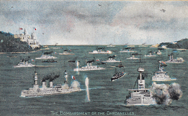 BOMBARDMENT OF THE DARDANELLES -  'Commenced on February 19th, 1915. According to the Admiralty announcement, the outer forts were soon completely silenced. Much credit must be given to our seaplanes. During the action, several machines went up, not only for reconnaissance work, but also to aid the gunlayers of the Allied Fleet.....The Dardanelles are very heavily mined and the main defences are situated about the portion know as the 'Narrows.' The following Allied ships took part in the bombardment:- QUEEN ELIZABETH, VENGEANCE, CORNWALLIS, TRIUMPH, AGAMEMNON, INFLEXIBLE, ALBION, QUEEN, MAJESTIC, CANOPUS, PRINCE GEORGE, IMPLACABLE, OCEAN, IRRESISTIBLE, EURYALUS, DUBLIN, AMETHYST and SAPPHIRE. French ships were:- SUFFREN, GAULOIS, BOUVET and JAUREGUIBERRY. Russian ship was:- ASKOLD. In these operations the following ships were mined: IRRESISTIBLE, OCEAN and BOUVET, Submarine E15 ran aground and was torpedoed to prevent the Turks capturing her.' The Dardanelles campaign lasted for 11 months and was a dismal failure. Eventually, 6 Allied battleships were sunk, 4 damaged and 8 submarines lost, with the three mentioned above all lost on March 18th. The failure of this enterprise demonstrated the unsuitably of capital ships for operations in restricted waters which were easy to defend. Most of the ships were old and expendable, though their crews were not. Their guns did not have great elevation, resulting in flat shell trajectories, making them unsuitable for use against land targets. The Turks simply dismantled their guns, evacuated the forts and re-occupied when it was all over.