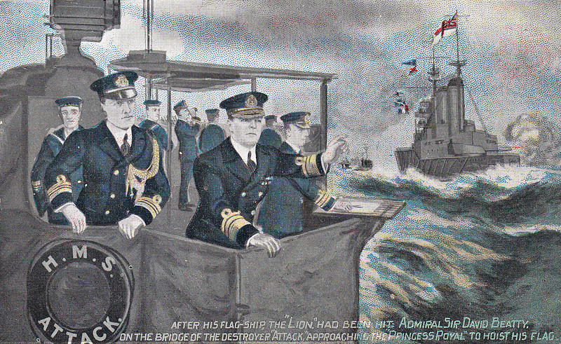 AFTER HIS FLAGSHIP HMS LION HAD BEEN HIT: SIR DAVID BEATTY ON THE BRIDGE OF THE DESTROYER HMS ATTACK APPROACHING HMS PRINCESS ROYAL TO HOIST HIS FLAG ON BOARD THE BATTLECRUISER - 'During the Dogger Bank fight on January 24th, his flagship LION having been crippled, Sir David Beatty, following battle custom under such circumstances, transferred his flag to another ship. Summoning the destroyer ATTACK alongside the LION, the Admiral boarded her, along with his Flag-Lieutenant, and then - for, of course, the other battkecruisers passed on, in chase of the enemy - hastened to overtake the squadron, eventually to hoist his flag in PRINCESS ROYAL. Admiral Beatty adds: 'The good seamanship of Lieutenant-Commander Cyril Callaghan, HMS ATTACK, in placing the vessel alongside LION, and subsequently PRINCESS ROYAL, enabled the transfer of flag to be made in the shortest possible time.' 'Everyone', says a letter from PRINCESS ROYAL, 'was cheering madly as he came on board.' One of a crowd of stokers on the upper deck, taking a rest after their strenuous toil in the stokehold at full speed, is declared 'to have patted the Admiral on the back as he came on board and said 'Well done, David, you're the man to thrash the Germans!.'