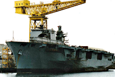 1998 to DATE - OCEAN (L12) - Amphibious Assault Ship - 21500 tons - 203.4 x 35.0 - 1998 Vickers Shipbuilding & Engineering Co., Govan - 3x30mm CIWS, 4x20mm, 18 h/c - 18 knots - still in service - seen here under construction.