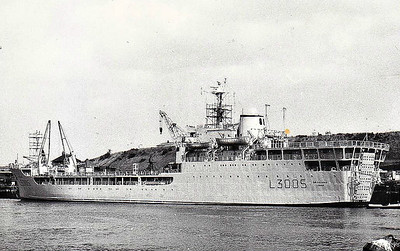 1966 to 1982 - SIR GALAHAD (L3005) - Round Table Class Landing Ship Logistic - 6390GRT/2215DWT - 126.0 x 18.0 - 1966 Alexander Stephen & Co., Port Glasgow - 2x40mm - 17 knots - 04/82 Falklands War, 08/06/82 hit by bombs from Argentine aircraft whilst unloading troops and equipment off Fitzroy, 48 killed, completely burnt out, hulk sunk as target.
