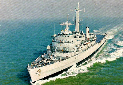 1967 to 1999 - INTREPID (L11) - Fearless Class Landing Ship - 12310 tons - 158.5 x 24.4 - 1967 John Brown & Co., Clydebank - 2x40mm, 4xSea Cat SAM, up to 5 h/c - 21 knots - 04/82 Falklands War, San Carlos Bay landings, 1984 refitted (Sea Cat removed, 4x30mm, 2x20mm added), 06/85 Training Ship, Dartmouth Training Sqdn., 1990 to Reserve, 1999 decommissioned, 09/08 sold for breaking.