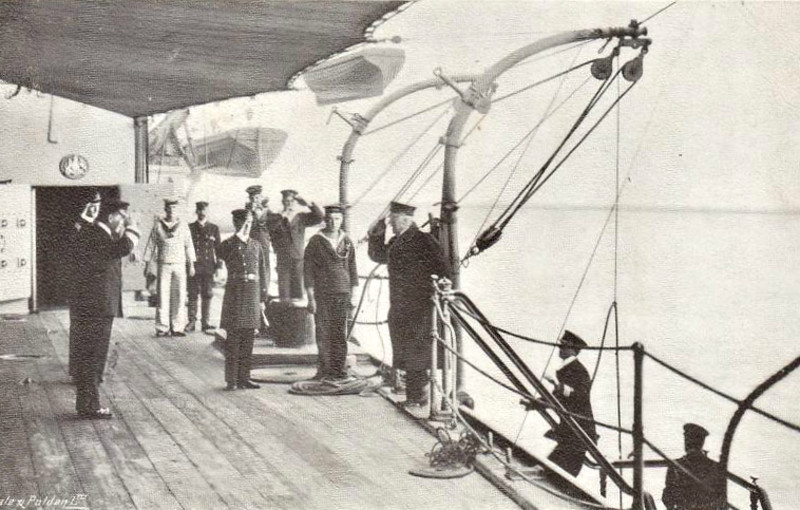 ARRIVAL OF THE ADMIRAL - HMS CAESAR - The Admiral is piped over the side of HMS CAESAR, a Majestic Class Pre-Dreadnought battleship completed in 1898.