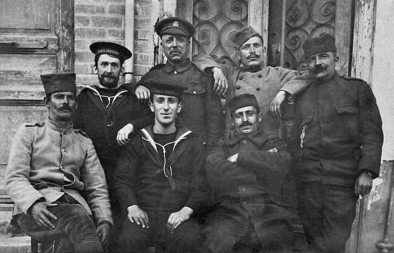 COMRADES IN ARMS - An interesting group. The sailors are from HMS SENTINEL. In November 1918, she went to the Black Sea as part of a squadron sent to assist the White Russians against the Bolsheviks, so I suspect that the Russian gentlemen are White Russian military.