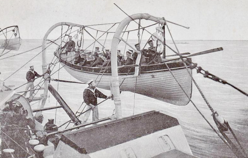 AWAY LIFEBOAT! - a boat is manned and prepared for lowering on HMS REPULSE - posted November 30th, 1906.