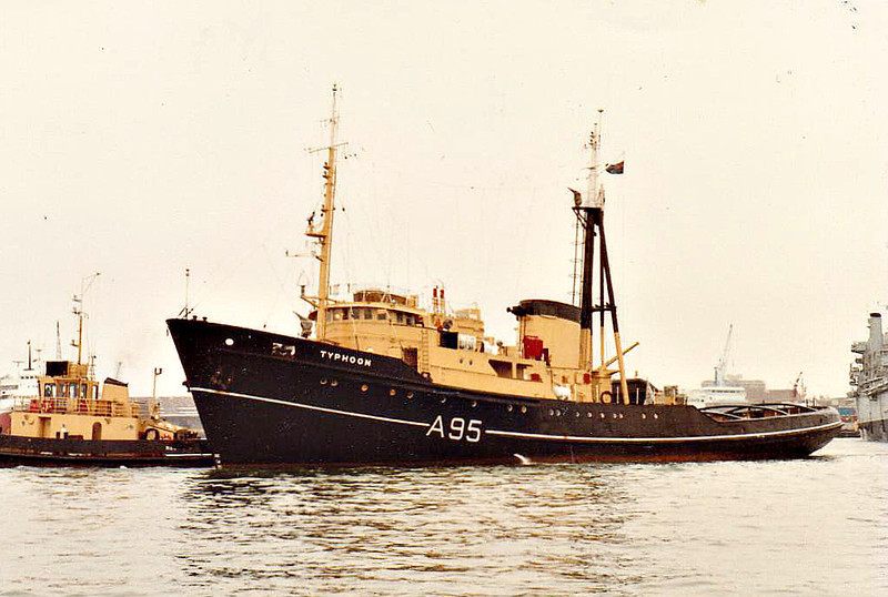 1960 to 1989 - TYPHOON (A95) - Ocean Tug - 1034GRT - 60.9 x 12.2 - 1960 Henry Robb & Co., Leith, No.460 - 1989 P.TYPHOON, 1992 converted to fishing trawler, SOMALIAN GLORY - 2002 broken up.