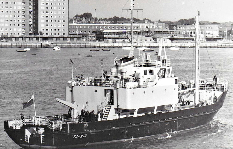 1972 to 1992 - TORRID (A128) - Torpedo Recovery Vessel - 550GRT - 49.4 x 9.5 - 1972 Clelands Shipbuilders, Wallsend, No.320 - 1992 sold as firefighting training vessel, Holland.