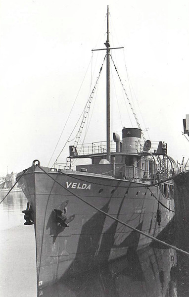1942 to 1946 - VELDA - Armed Boarding Vessel - 570GRT - 48.7 x 8.4 - 1926 Todd Shipbuilding Corpn., Brooklyn, NY as VIDOR (1926 to 1928) - Yacht owned by LL Irvin - HI-ESMARO (1928-29), HILDA (1929-33), MOANA (1933-38) - 1938 VELDA, 1942 to RN as Armed Boarding Vessel, 1946 sold commercial, 1950 converted to Cargo, renamed SANTA CRISTINA - 21/05/50 destroyed by fire 240nm off Balboa.