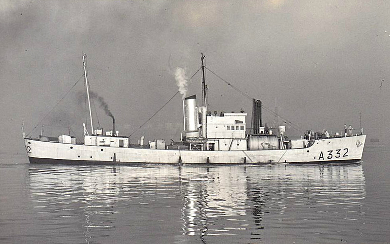 1943 to ???? - CALDY (A332) - Isles Class Trawler - 545 tons - 50.0 x 8.4 - 1943 John Lewsi & Co., Aberdeen, No.175 - 1x3in., 3x20mm, 30DC - 12knots - 1945 Wreck Dispersal Vessel (DV5), 1951 Tank Cleaning Vessel (A332) - fate not known.
