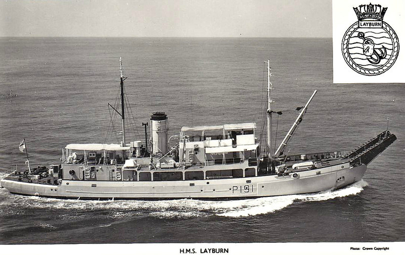 1960 to 1978 - LAYBURN (P191) - Lay Class Boom Defence Vessel - 800 tons - 58.8 x 10.5 - 1960 Simons Lobnitz Co., Paisley - 10 knots - 1978 sold to Gardline Ltd. but not reused, sold for breaking.