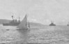 1908 - June 21st - Units of the British Fleet enter Kristiansandfjord in Norway. The date is that of posting and was sent to a Miss McColl in Tobermory, Mull, by a Mr Wm. Hughes, a crew member on the King Edward VII Class Battleship on the left.