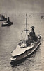 1935 - July 16th - KING GEORGE V SILVER JUBILEE REVIEW - HMS QUEEN ELIZABETH sits at the head of a row of battleships made up of what are, by now, her near sisters.