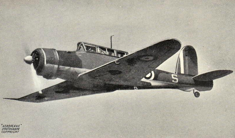 1938 to 1945 - BLACKBURH SKUA I - Dive Bomber/Fighter - 192 Skua's were built for the Royal Navy, the Fleet Air Arm's first monoplane. In service, it proved to be heavy and slow in the fighter role. It did, however, claim the first aircraft kill of the War and 16 of them sank the German light cruiser KONIGSBERG in Bergen. It's inferiority as a fighter against the Messerschmitt 109 lead to it's withdrawal from frontline duties in 1941,after which time it saw service as a trainer and target tug.