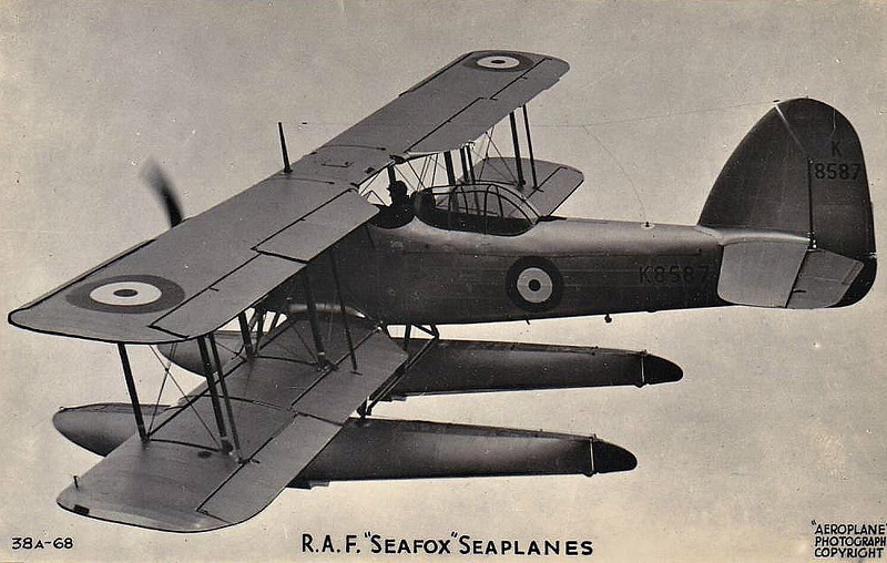 1937 to 1943 - FAIREY SEAFOX - Ship-borne Reconnaisance Seaplane - 106 mph - 440 miles range - first flown in 1936, 66 Seafox aircraft were built for use aboard cruisers and battleships. The aircraft was underpowered, engine cooling was poor and landing speeds to high. The proliferation of radar, long-range land based aircraft and aircraft carriers saw them phased out of use by 1943.