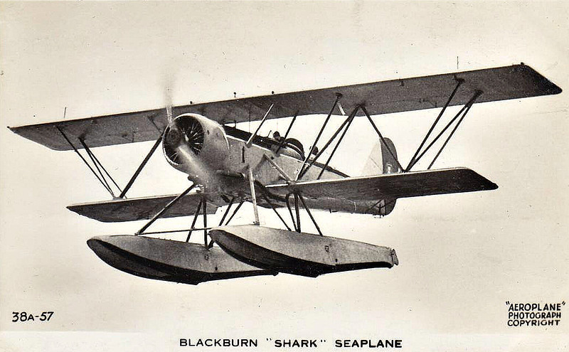1934 to 1945 - BLACKBURN SHARK - Reconnaisance/Torpedo Bomber - 244 aircraft built for the Fleet Air Arm, 19 for the RCAF and 6 for the Portuguese Navy. Introduced to carrier service with the FAA in 1935, they were already obselete by 1937 and were replaced by the Fairey Swordfish, several continuing in service as target tugs and on training duties. The RCAF aircraft were withdrawn in 1944. This picture shows the prototype fitted with floats for trials.