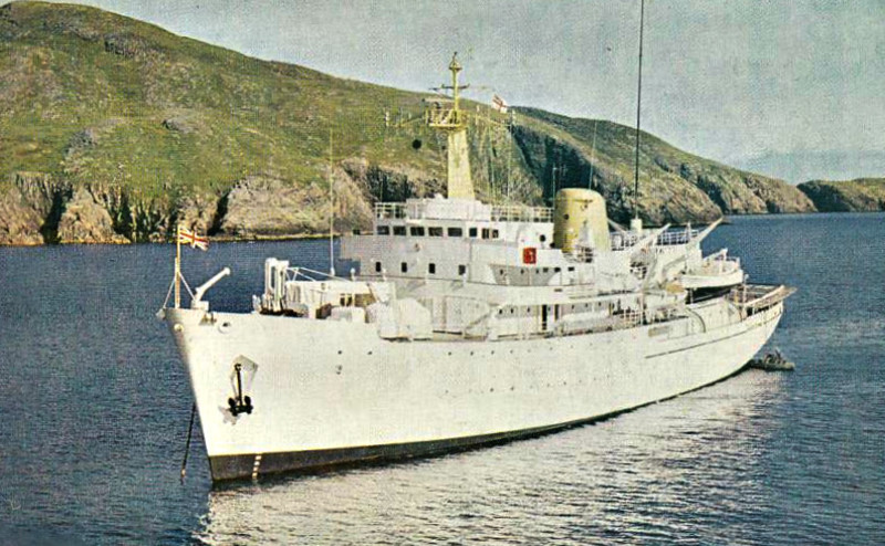 1969 to 1990 - HECATE (A137) - Hecla Class Survey Ship - 2800 tons - 79.0 x 15.4 - 1969 Yarrow Shipbuilders, Scotstoun - 2x20mm, 1h/c - 14 knots - 1982 Ice Patrol Ship during Falklands War, 1990 decommisioned,. sold for breaking.