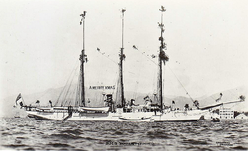 1893 to 1912 - WATERWITCH - Composite Survey Ship - 479 tons - 48.8 x 8.0 - 1878 Robert Steele & Co., Cartsburn, No.107 as private yacht LANCASHIRE WITCH - 03/93 bought by Admiralty, 1894 Australia, 1898 China, 1900 Boxer Rebellion, 1908 Singapore, 01/09/12, while lying at anchor off the mole at Singapore Harbour, she was struck amidships by SEAMEW, the personal launch of the Governor of Singapore. The launch's sharp prow pierced WATERWITCH's wooden side, and she then compounded her error by putting her engines hard astern. WATERWITCH's bridge collapsed, her mainmast fell over the port side, and the resulting gaping wound in her side allowed an overpowering in-rush of water. WATERWITCH sank in 24ft of water. At low water, her masts, funnel, and the highest parts of her superstructure remained above water. Two members of her ship's company were drowned.