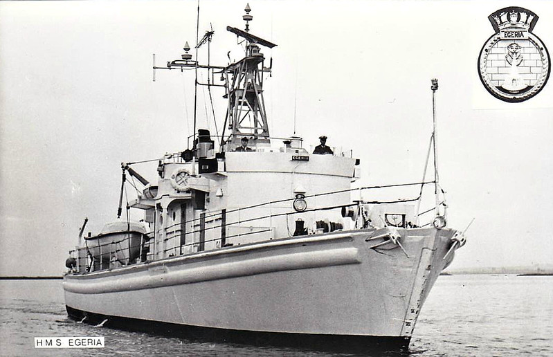 1958 to 1985 - EGERIA (A71) - Enterprise Class Inshore Survey Ship - 120 tons - 32.0 x 6.7 - 1958 Weatherhead & Co., Cockenzie - 14 knots - 1985 decommisioned, converted to Training Ship JONAS HANWAY.