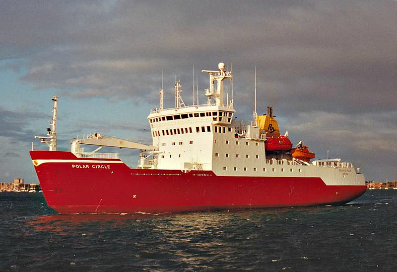 1991 to 1992 - POLAR CIRCLE (A171) - Ice Patrol Ship - 6100 tons - 91.0 x 17.9 - 1990 Ulstein Hatlo, Ulsteinvik as POLAR CIRCLE (1990-91) - 11/91 chartered by RN as HMS POLAR CIRCLE (A171), 10/92 purchased by RN, renamed HMS ENDURANCE, 12/08 extensively damaged by flooding, laid up pending decision on futire.