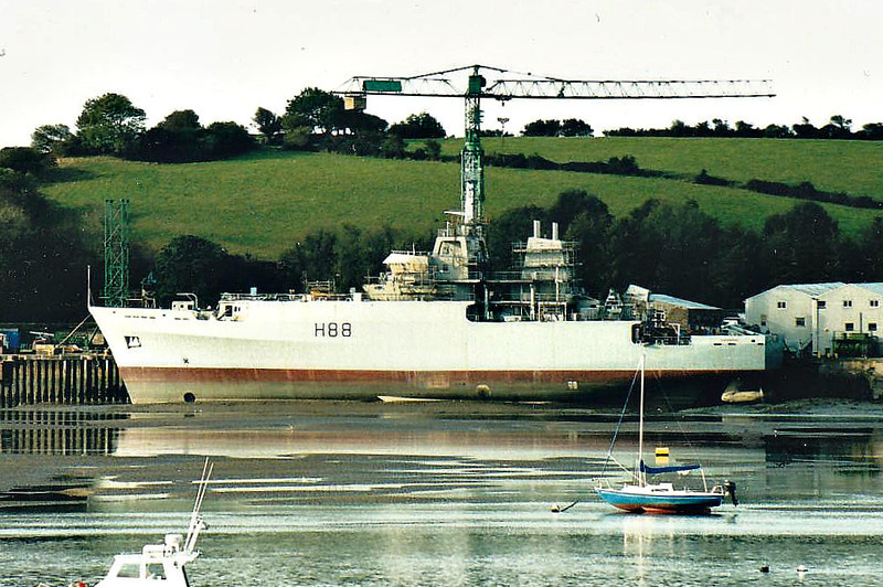 2003 to DATE - ENTERPRISE (H88) - Echo Class Survey Ship - 3415 tons - 90.6 x 16.8 - 2003 Appledore Shipbuilders - 2x20mm - 15 knots - 10/04 Mediterranean, 09/05 Middle East, 2007 West Africa, 06/09 West Africa - seen here whilst building.
