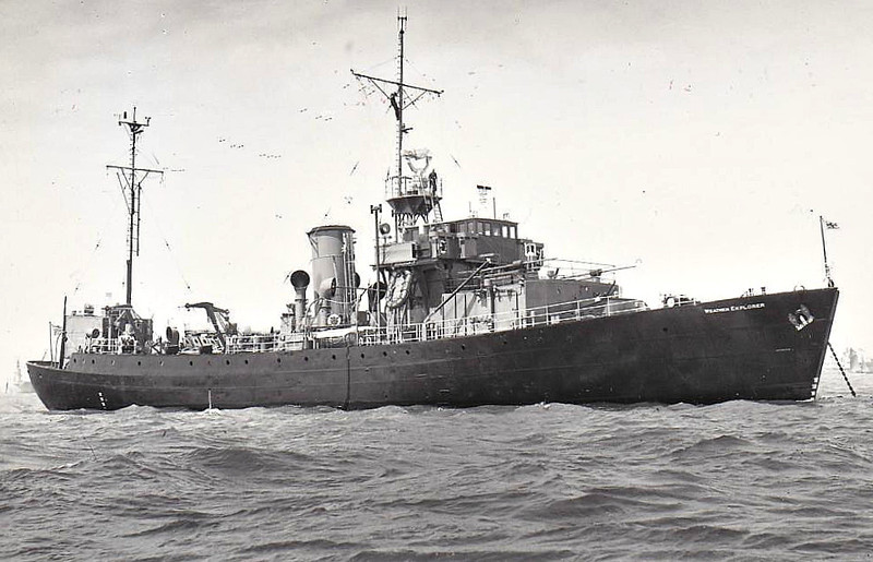 1941 to 1947 - THYME (K210) - Flower Class Corvette - 940 tons - 62.6 x 10.1 - 1941 Smiths Dock Co., South Bank - 1x4in. - 16 knots - 1947 converted to Weather Survey Ship WEATHER EXPLORER, 1958 sold commerical as EPOS - 1962 broken up at Hong Long - seen here as WEATHER EXPLORER in 06/53.