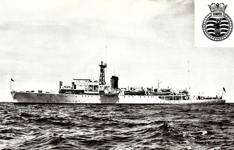 1948 to 1968 - DAMPIER (A303) - Bay Class Anti-Aircraft Frigate/Survey Ship - 2530 tons - 93.7 x 11.7 - 1948 Smiths Dock Co., South Bank - 19 knots - 1945 launched as HMS HERNE BAY (K611), work suspended, 1948 completed as Survey Ship, 06/48 Singapore, home port, 11/67 returning to UK, damaged propellor shaft and returned to UK under sail, 01/68 decommisioned, 01/69 sold for breaking.