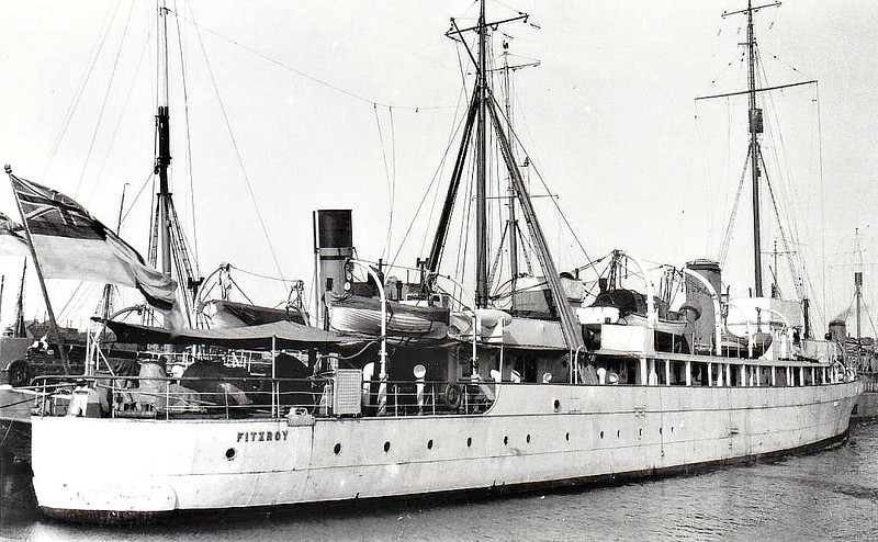 1919 to 1942 - FITZROY - Hunt Class Minesweeper - 710 tons - 70.0 x 8.5 - 1919 Simons Lobnitz & Co., Renfrew as PORTREATH - 1x4in. - 16 knots - 03/19 converted to Survey Ship, renamed FITZROY, 1939 converted to Minesweeper, 27/05/42 sunk by mine off Great Yarmouth - seen here in 1925.
