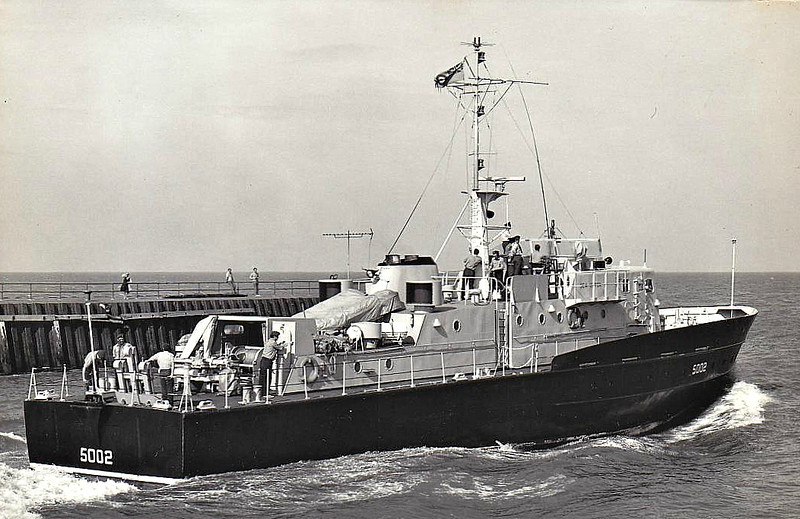 1970 to 1985 - SEA OTTER (5002) - Seal Class Long Range Recovery Craft - 158 tons - 36.7 x 7.2 - 1970 Fairmile Construction Ltd., Berwick on Tweed - 25 knots - 1985 to Royal Navy as HMS REDPOLE (P259), 1x40mm, service in Northern Ireland, 07/94 decommisioned, sold to private owner as BADZT MARU - seen here in 08/73.