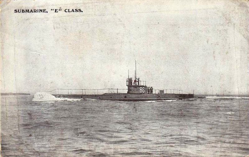 1913 to 1915 - E6 - E Class Submarine - 676 tons, 809 dived - 54.0 x 4.7 - 1913 Vickers Ltd., Barrow - 4TT - 15 knots, 9.5 dived - 08/14 North Sea Patrols, 26/12/15 mined and sunk in the North Sea off Harwich.