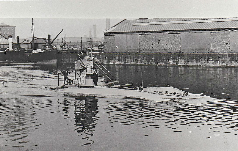 1908 to 1920 - A13 - A Class Submarine - 190 tons, 210 tons dived - 32.1 x 3.9 - 1908 Vickers Shipbuilders, Barrow - 2TT - 11 knots, 8 knots dived - first RN submarine with diesel engine - 1920 broken up.
