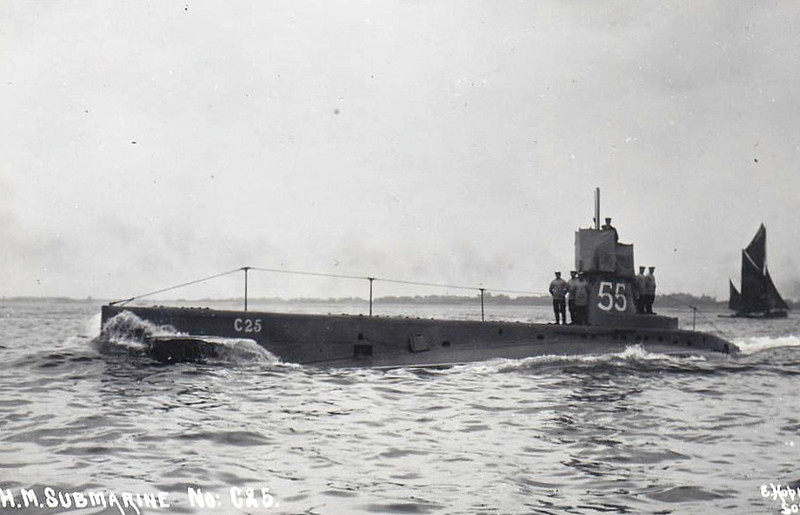 1909 to 1921 - C25 - C Class Submarine - 295 tons, 325 dived - 43.6 x 4.1 - 1909 Vickers Shipbuilding, Barrow - 2TT - 13 knots, 8 dived - 06/07/18 machine-gunned and bombed by German seaplanes off Harwich, after being caught on the surface. Commanding Officer and three lookouts on the conning tower killed. One of the bodies blocked the conning towers hatch so she was unable to dive. The First Lieutenant and two ERA's cut off the leg of one of the bodies with a hacksaw to free the hatch. Another two crew members died while trying to close the hatch. The holes in the pressure hull were plugged by clothes and HMS E51 was able to tow C25 back to port - 12/21 sold for breaking.