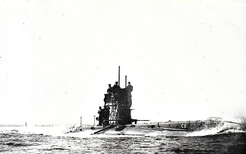 1907 to 1920 - C8 - C Class Submarine - 292 tons, 321 dived - 43.6 x 4.1 - 1907 Vickers Shipbuilding, Barrow - 2TT - 12 knots, 7 dived - 10/20 sold for breaking.