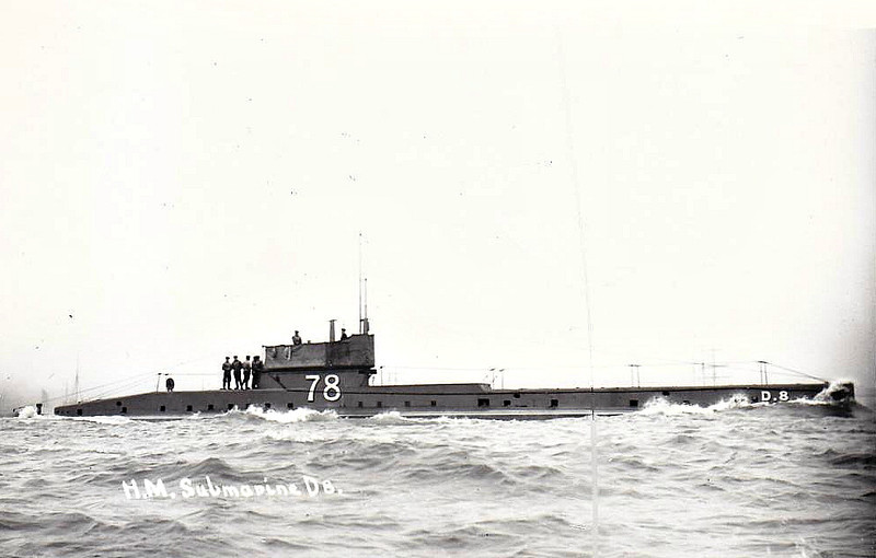1912 to 1921 - D8 - D Class Submarine - 483 tons, 585 dived - 49.7 x 4.1 - 1912 Vickers Armstrong Ltd., Barrow - 1x12pdr, 3TT - 14 knots, 9 dived - 28/08/14 Battle of the Heligoland Bight, 12/21 sold for breaking.