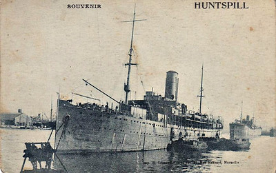 1915 to 1921 - HMT HUNTSPILL - Troopship - 5301GRT/5695DWT - 123.4 x 14.4 - 1904 Lloyd Austriaco, Trieste, No.70 - 08/14 seized by British at Alexandria, 1915 converted to Troopship, renamed HUNTSPILL, 1921 sold to Lloyd Triestino, renamed ASIA, 02/33 broken up at Monfalcone.