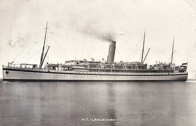 1917 to 1956 - HMT LANCASHIRE - Troopship - 9445GRT - 147.0 x 17.5 - 1917 Harland & Wolff, Belfast, No.459 - 1917 requisitioned as troopship whilst building, 1920 returned to Bibby Line, 1930 converted into permanent troopship, 06/44 Normandy Landings, 1945 converted to stores ship, 1946 re-converted to troopship, 1956 broken up at Barrow.