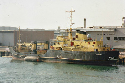 1981 to 2006 - KINTERBURY (A378) - Armaments Carrier - 1393GRT/685DWT - 70.4 x 12.3 - 1981 Appledore Shipbuilders, No.130 - 2006 converted to research vessel, renamed DEEPWORKER (PAN) - still trading - seen here at Portsmouth, 05/99.