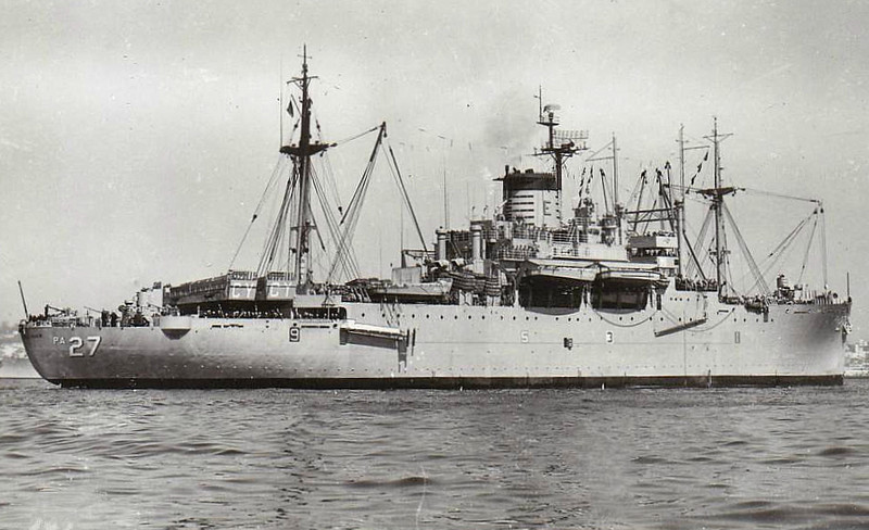 1942 to 1967 - GEORGE CLYMER (APA27) - Arthur Middleton Class Attack Transport (Type C3 P&C) - 18000 tons - 149.0 x 21.2 - 1942 Ingalls Shipbuilding Corpn., Pascagoula, MS - 4x3in., 4x40mm, 8x20mm - 18 knots - 11/42 North Africa, 04/43 Solomon Islands, 11/43 Bougainville, 06/44 Saipan, 08/44 Guam, 10/44 Leyte, 04/45 Okinawa, 08/50 Korea, 07/51 Korea, 01/53 Korea, 07/65 Vietnam, 03/66 Vietnam, 10/67 decommisioned, 07/68 sold for breaking.
