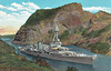 1930 to 1946 - PENSACOLA (CA24) - Pensacola Class Heavy Cruiser - 9200 tons - 178.5 x 19.9 - 1930 New York Navy Yard, Camden, NJ - 10x8in., 4x5in., 6TT, 4 a/c - 33 knots - 30/11/42 Battle of Tassafaronga, badly damaged, 125 dead, 01/44 Marshall Islands, 03/44 Caroline Islands, 10/44 Leyte, 02/45 damaged at Iwo Jima, 17 dead, 04/45 Okinawa, 05/46 Bikini atom bomb tests, 08/46 decommisioned, 11/48 sunk as a target - seen here in the Gaillard Cut, Panama Canal.