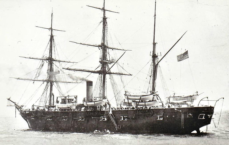 1859 to 1926 - HARTFORD - Hartford Class Screw Sloop - 2947 tons - 69.0 x 13.0 - 1859 Boston Navy Yard - 20x9in Dahlgren guns, 2x20pdr. Parrott rifles - 13.5 knots - 01/1862 Western Gulf Blockading Sqdn., 05/1862 Battle of New Orelans, 06/1863 Battle of Vicksburg, 08/1864 Battle of Mobile Bay, 07/1865 Asiatic Sqdn., 01/1887 Training Ship, Pacific, 10/1899 Training Ship, Atlantic, 10/12 Station Ship, Charleston, 08/26 decommisioned, 10/38 to Washington DC., 10/45 Norfolk Navy Yard as a relic, 20/11/56 sank at berth, broken up.