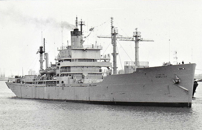 1957 to 1988 - BOWDITCH (AGS21) - Bowditch Class Hydrographic Survey Ship - 13050 tons - 138.8 x 18.9 - 1945 Oregon Shipbuilding Corpn., Portland, OR, No.1256 as SOUTH BEND VICTORY (VC2-S-AP3 Type) - 08/57 to US Navy, converted to Survey Ship, 03/88 decommisioned, 10/88 broken up at Kaohsiung.