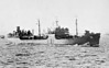 1943 to 1974 - SAUGATUCK (AO75) - Type T2 Fleet Tanker - 16613 tons - 159.6 x 20.7 - 1943 Sun Shipbuilding Corpn., Chester, PA, No.250 - 1x5in., 4x3in., 8x40mm, 12x20mm - 15 knots - 06/44 Saipan/Guam, 08/44 Tinian, 09/44 Carolines, 01/45 Luzon, 02/45 Iwo Jima, 03/45 Okinawa, 03/46 to Reserve, 01/48 recommissioned, 11/74 decommissioned, 06/06 sold for breaking - seen here in Tokyo Bay, 11/45.