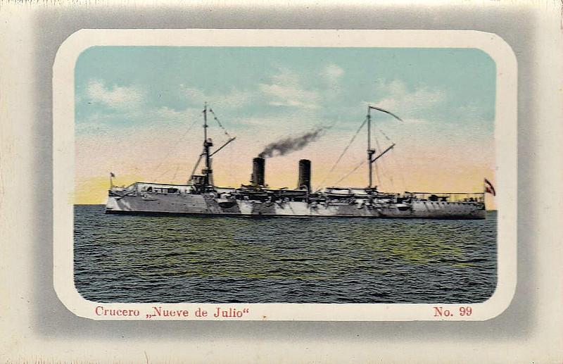 1893 to 1930 - NUEVE DE JULIO - Protected Cruiser - 3600 tons - 107.9 x 13.4 - 1893 Armstrong & Co., Elswick - 4x6in., 8x4.7in., 12x3pdr., 5TT - 22 knots - 1930 scrapped.
