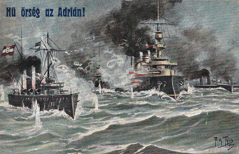 AUSTRO-HUNGARIAN NAVY IN THE ADRIATIC - I can't really work this one out. I think it shows a small Austrian cruiser, perhaps Zenta Class, in combat with an old French battleship. It might be the Battle of Antivari, 16/08/14, but, as the Austrians lost that battle, probably not! Feldpost posted on October 4th, 1915.