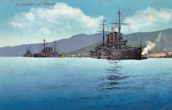 The 3 Pre-Dreadnought Battleships of the Erzerhog Karl Class at Abbazia in about 1910. The 3 were named ERZHERZOG KARL, ERZHERZOG FRIEDRICH, ERZHERZOG FERDINAND MAX - 10742 tons - 126.2 x 21.8 - built between 1903 and 1905 - 4x12in., 12x8in., 12x66mm, 6x47mm, 2TT - 20.5 knots - all were takne in 1919 by Yugoslavia but scrapped in 1920 in Britain and France.