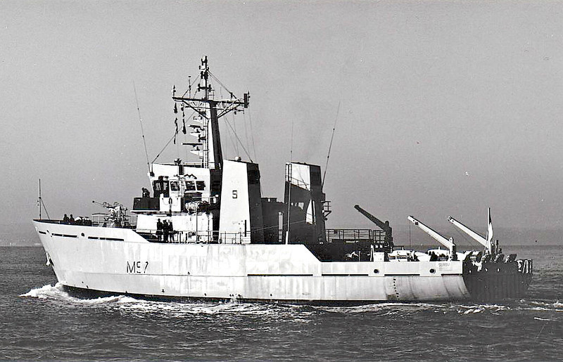 1994 to DATE - SUROVI (M97) - River Class Minesweeper - 890 tons - 47.5 x 10.5 - 1985 Richards Shipbuilders, Great Yarmouth as HMS DOVEY (M2005) - 1x40mm - 14 knots - Tender to HMS GRAHAM, 1994 to Bangladesh as SUROVI (M97) - still in service.