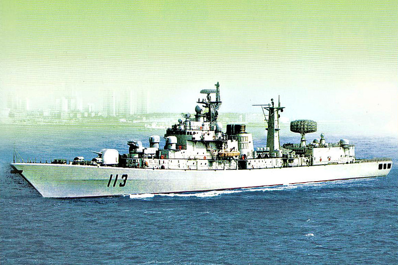 1996 to DATE - QING DAO (113) - Luhu Class Type 052 Destroyer - 4800 tons - 144.0 x 16.0 - 1996 Hudong Zhonghua Shipyard - 1x100mm, 4x37mmAA, 4x4 SSM, 8xSAM, 2x12 ASROC, 6TT - 31 knots - 2011 weapons upgrade (2x37mmAA removed, 2x30mm CIWS added on top of hangar) - still in service.