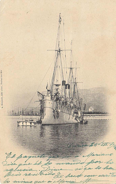 1891 to 1922 - COSMAO - Troude Class Protected Cruiser - 1923 tons - 95.0 x 9.0 - 1891 Forges et Chantiers de la Gironde, Bordeaux - 4x139mm, 4x40mm, 4x37mm, 4TT, 150 mines - 20 knots - 1922 sold for breaking - posted March 26th, 1912.